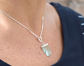 Kunzite crystal necklace sterling silver natural stone raw crystal jewelry
