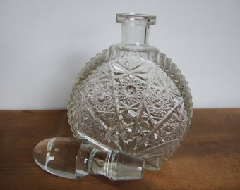 CLEARANCE! Vintage Clear Glass Spirits Decanter with Cut Glass Design