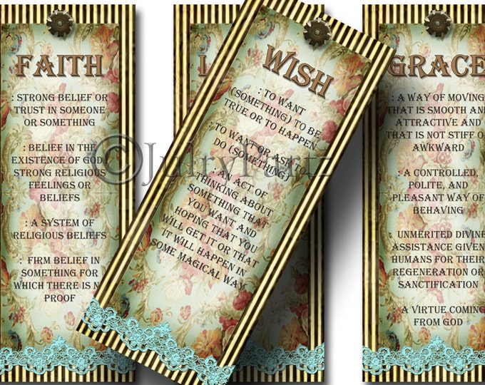 SHABBY LACE, 2x5 bookmarks, Printable Digital Images, Cards, Gift Tags, book marks
