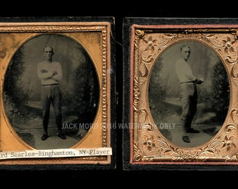 TWO 19th Century Baseball Tintypes ~ ID'd Player