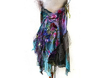 RESERVED Beautiful Unique Art To Wear Top Cinderella GIRL WITH ROSEs Fairy Silks Silk Velvet Marie Antoinette Tattered Gipsy