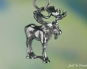 Sterling Silver Moose Charm Woodland Maine Canada Alaska 3D Solid .925