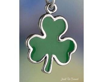 Sterling Silver Green Shamrock Charm Three Leaf Clover Irish Solid 925