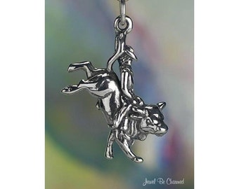 Bull Rider Charm Sterling Silver Rodeo Cowboy Bucking Bulls Solid .925