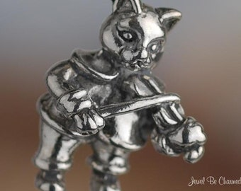 Sterling Silver Hey Diddle Diddle Cat and the Fiddle Charm Solid .925