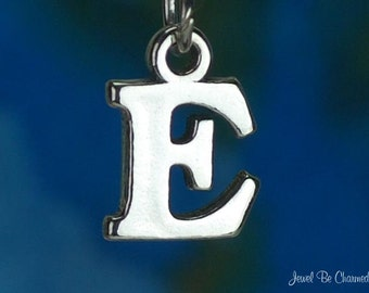 Sterling Silver Capital Letter E Charm Initial Alphabet Solid .925