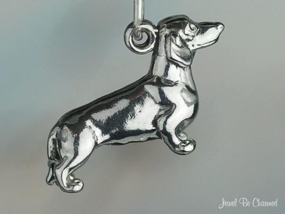 Dachshund Charm Sterling Silver Sweet Doxie Dog Breed 3D Solid .925