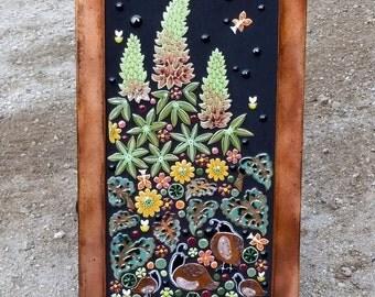 MOSAIC WALL ART Floral garden mosaic outdoor patio art. Handmade ceramic quail fern flower art tile.