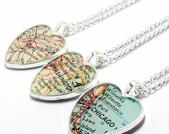 CUSTOM Heart Vintage Map Necklace. You Select Location. Anywhere In The World. One Necklace. Map Pendant Jewelry. Personalise Map Jewellery.