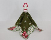 Vintage Hanky Dress green with red and white floral hanky and red bodice - party favor table decoration