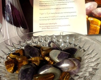 MEANINGFUL DECOR - Amethyst and Tigers Eye, 20+ tumbled stones, gift for motivation, inspiration, passion, goals, plus literature