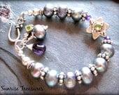 Peacock Freshwater Pearl Bracelet, Bali Sterling Silver, Amethyst, Peridot, Chunky Semi Precious Beaded Gemstone Bracelet