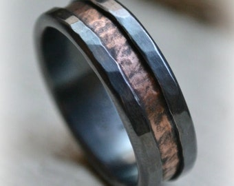 mens wedding band - rustic fine silver and 14k rose gold ring - handmade oxidized artisan designed wedding or engagement band - customized