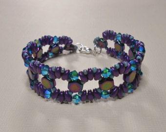 Bead Woven Honeycomb Beaded Bracelet