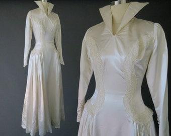 1940s Regal Wedding Dress w Dramatic Collar / Vintage Bridal