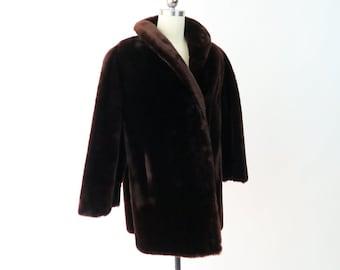1950s Dark Brown Mouton Fur Coat / Vintage Fur Winter Coat