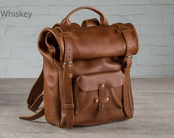 The Rolltop Leather Backpack - Whiskey