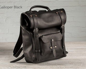 The Rolltop Leather Backpack - Black