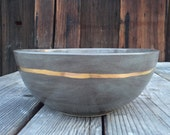 gift handmade ceramic bowl serving soup salad bowl in gray and 22k gold accent