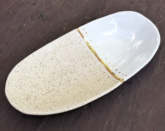 Wedding gift  Oval handmade ceramic serving platter plate dish cream and white and 22k gold