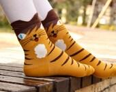 Odd-Eyed Tiger Striped Cat Socks