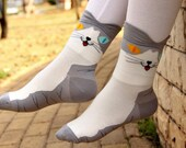 Odd-Eyed Gray Cat Socks