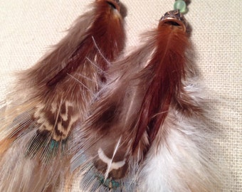 Long green and brown earthy feather earrings