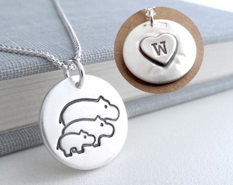 Personalized Hippo Family Necklace, Mom, Dad, Baby, Heart Monogram, Two Moms, Two Dads, Fine Silver, Sterling Silver Chain, Made To Order