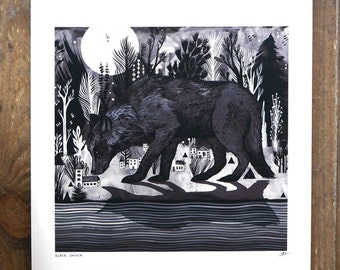 "BLACK SHUCK // signed, archival quality Giclee' Print | A3 (11.7"" x 16.5"")"