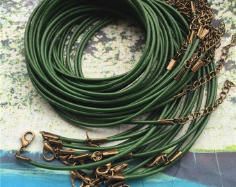 Bronze finish--20pcs 16-18 inch adjustable 2mm thickness Green genuine leather necklace cords with lobster clasps and 2 inch extender