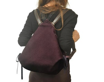 Backpack in bordeaux canvas,everyday bag,women's backpack,shoulder bag ,with leather details,NINA