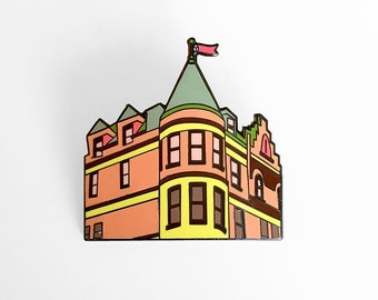 Tenenbaum House Enamel Pin - The Royal Tenenbaums 111 Archer Avenue - Wes Anderson Pin - Illustrated Lapel Pin
