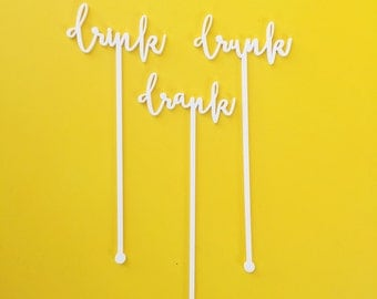 Drink Stirrers, Fun and Sassy Expression Stir Sticks, Drink, Drank, Drunk, Swizzle Sticks, Laser Cut, 6 CT.