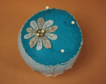 Flower In The Blue Pincushion