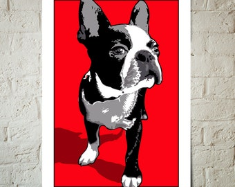 Boston Terrier, Dog, Art Print, Pop Art, Pet Decor, Poster sized Dog Decor, Dog Nursery decor, Pet Portrait, Gift for Pet Lover