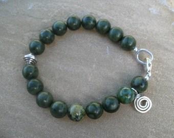 Green Jade Beaded Bracelet, Sterling Silver Jewelry