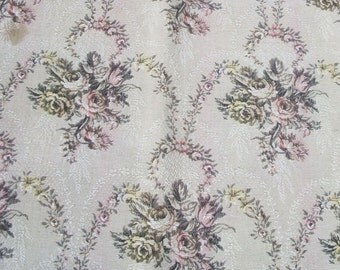 Antique Vintage French 1930s Woven Fabric Oyster Ecru material faded pink blush roses