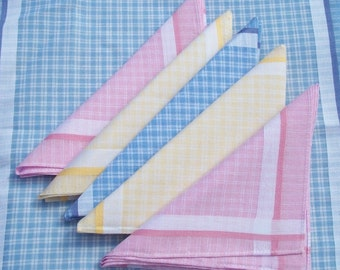 Bundle Vintage French Hankies Country Cottons Fabric Squares Checked Handkerchief Gingham Bunting