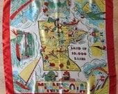 MINNESOTA State Map Souvenir Large Satin Scarf