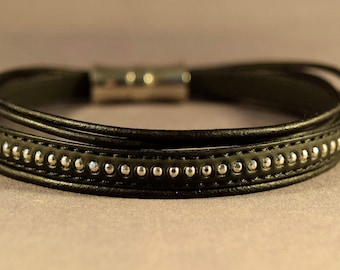Leather Bracelet-Black Bracelet-Women Bracelet-Men Bracelet-Friendship Bracelet-Gifts-Bangle Bracelet-Wrist Bracelet-Gift For Her