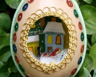 Vintage Chicken Egg Shell Christmas Diorama with Metallic Trim Scene Fabergé Style - Green Velvet and Sequins - Boy with Sleigh