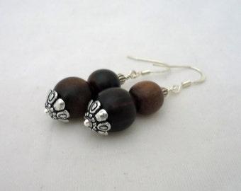 Wooden Earrings, Dangle Wooden Earrings, Brown Earrings, Gift for Her
