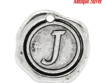 "5pcs. Antique Silver LARGE Letter ""J"" Alphabet Letter - 18mm x18mm - Wax Design"