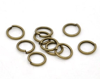 100 pcs Antique Bronze Open Jump Rings - 7mm - 16 Gauge (1.3mm Thick) - THICK - High Quality