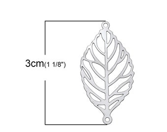 1 pc. Stainless Steel Leaf Nature Connector Charms Pendants - 30mm X 15mm (1.18 inch)