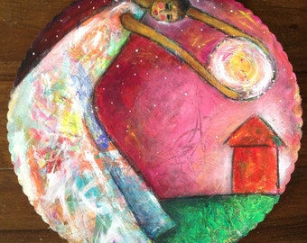 The Moon And The Stars Original Mixed Media Painting