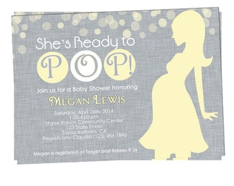 She's Ready to Pop! Yellow and Gray Baby shower invitation- Neutral Gender- Personalized- Digital or Printed