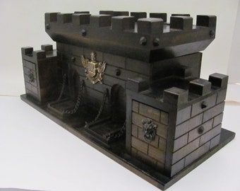 Vintage Wood Gothic Castle Jewelry Box S Sper Bijou Case Chest 1960s 1970s  Fantasy Medieval Renaissance Fairy Tale Gargoyle
