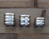adjustable ring cuffs / Lines ring / satin finish / stripes cutout tube rings / geometric ring / stacking rings / edgy modern jewelry