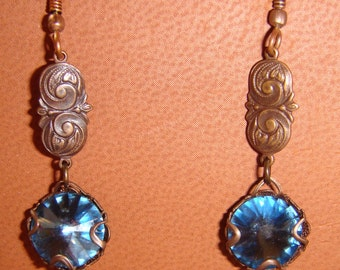 Swarovski Crystal Sapphire Blue Pierced Earrings with Natural Brass